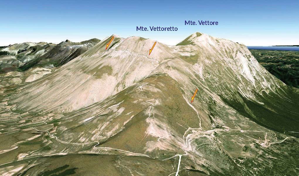 GoogleEarth view of the emergent Monte Vettore fault