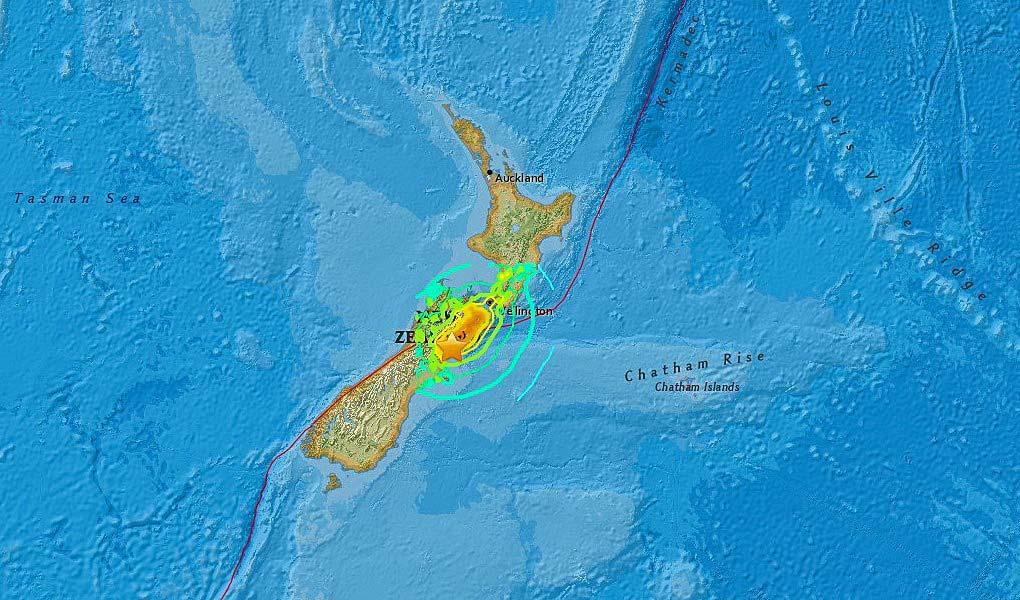 USGS shakemap for 14th November 2016 M7.8 Kaikoura earthquake