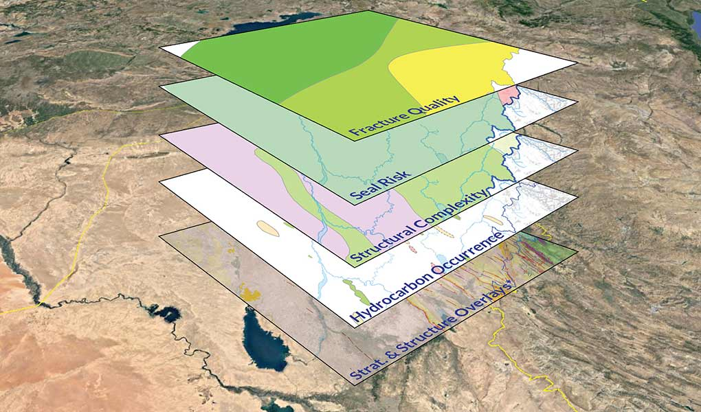 Stacked GIS overlays, NE Iraq