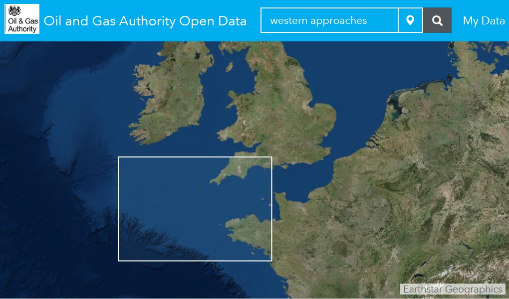 "Area of Interest for the ""New Appraisal of the Western Approaches Basins"" project."