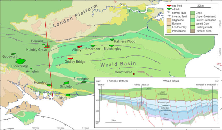 Geology map and cross-section of the Weald Basin, SE England