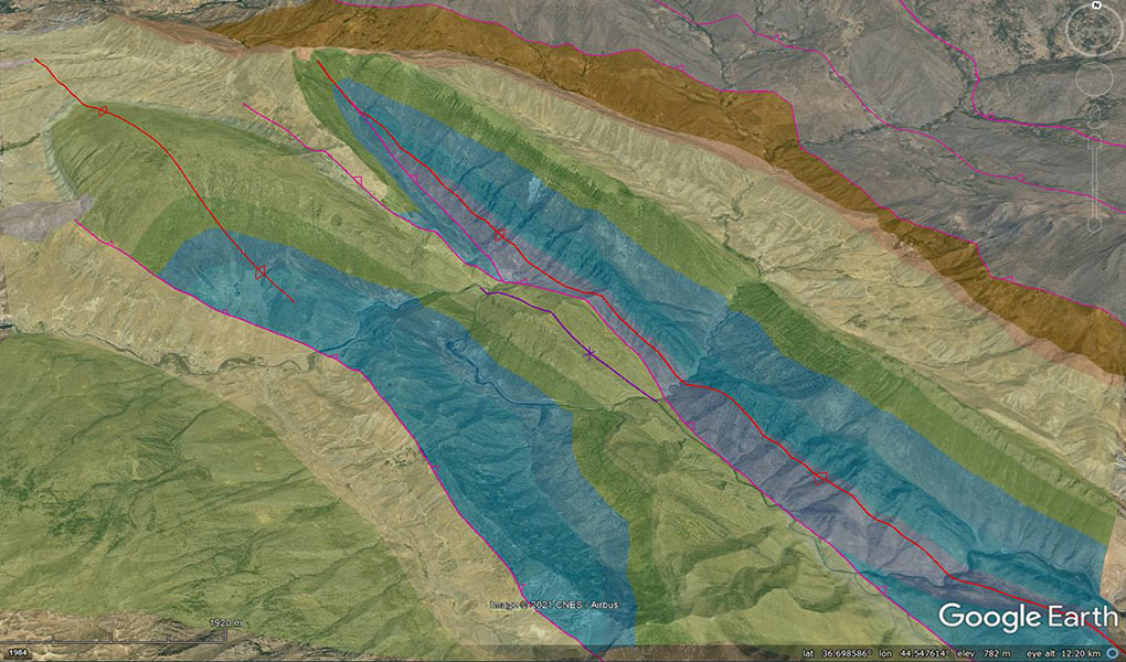 GRL interpretation of surface structure and stratigraphy, draped over topography in Google Earth (NE Kurdistan).