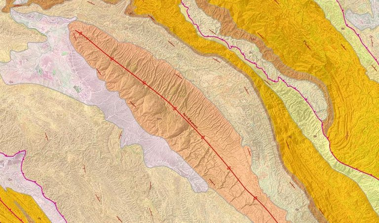 Asmari Anticline, Zagros, SW Iran: GRL's Zagros Regional Mapping draped over Landsat 7 imagery (screenshot from ArcGIS).