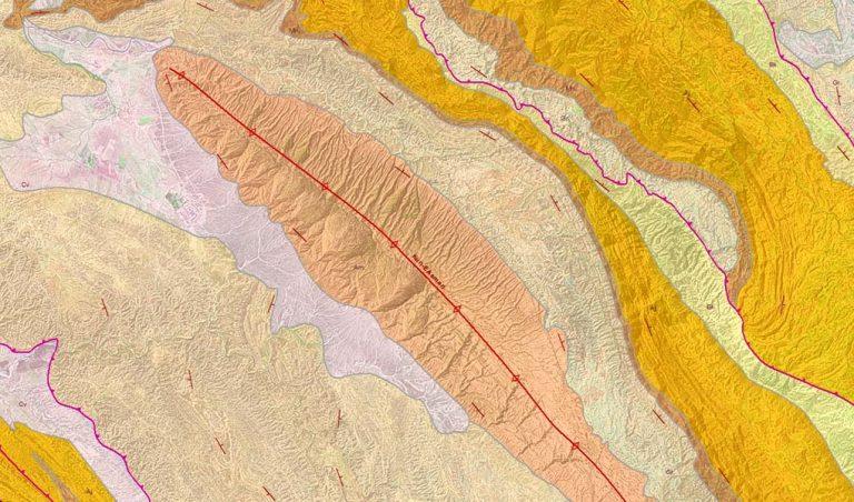Asmari Anticline, Zagros, SW Iran: GRL's Zagros Regional Mapping draped over Landsat 7 imagery (screenshot from ArcGIS).