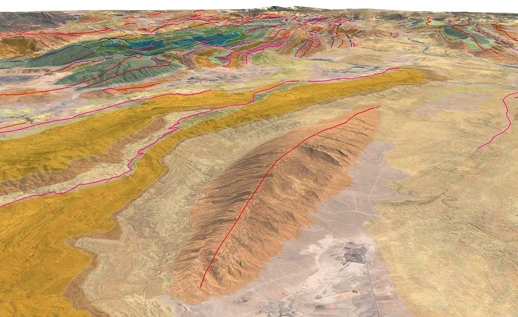 Asmari Anticline, Zagros, SW Iran: GRL's Zagros Regional Mapping dropped into Google Earth (screenshot from Google Earth looking oblique down towards to SE).
