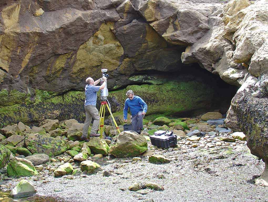 Fieldwork in 2004 – setting-up the lidar to acquire virtual outcrop data from the 90 Fathom Fault near Newcastle, UK.
