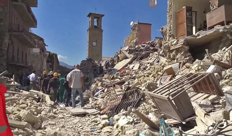 Amatrice town destroyed by the earthquake