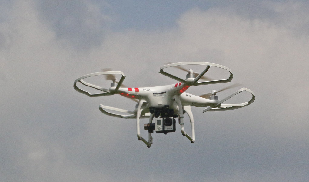 One of the GRL multi-rotor drones acquiring data.