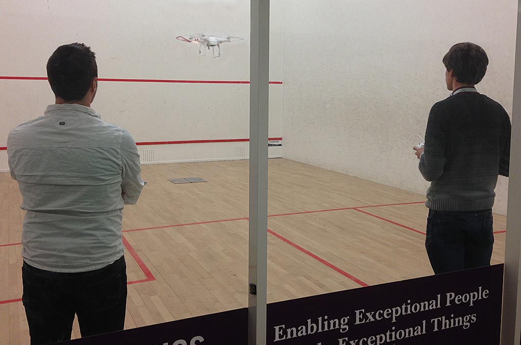 UAV training in a safe environment at the University squash courts.