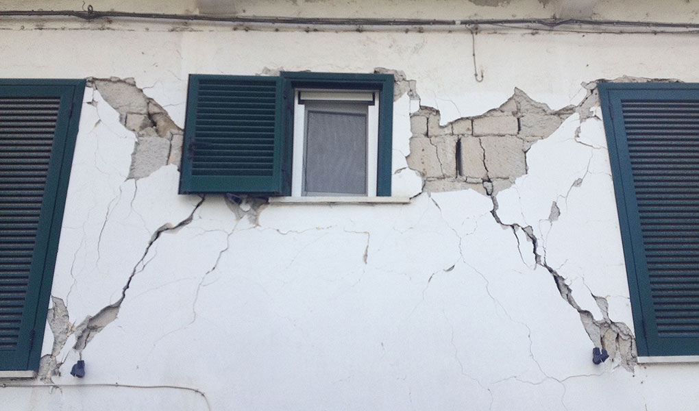 Earthquake damage to infrastructure.