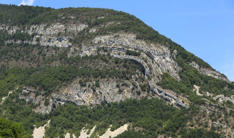 Thrust-related folding, Montagne de Seremand (Virieu-le-Grand, French Jura), looking NW.