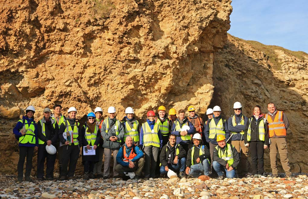 "Participants on the ""Geology of Fractured Reservoirs"" fieldtrip to see coastal Zechstein exposures Co. Durham"
