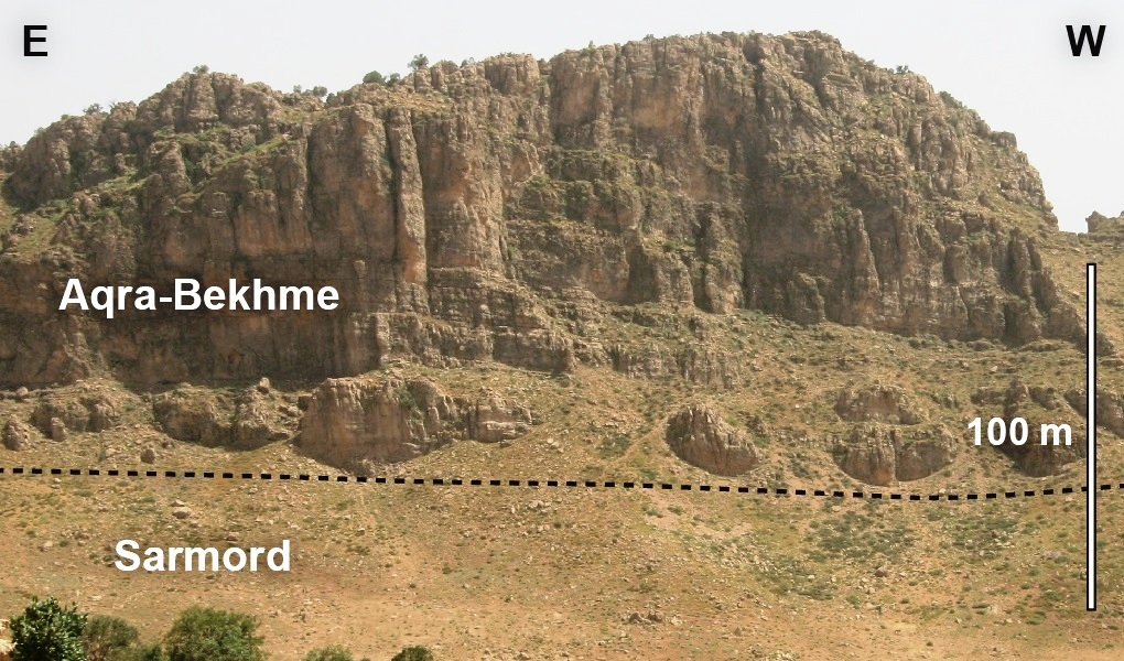 Variation in fracture heights seen in the Aqra-Bekhme Fm. from the Mateen anticline, northern Kurdistan.